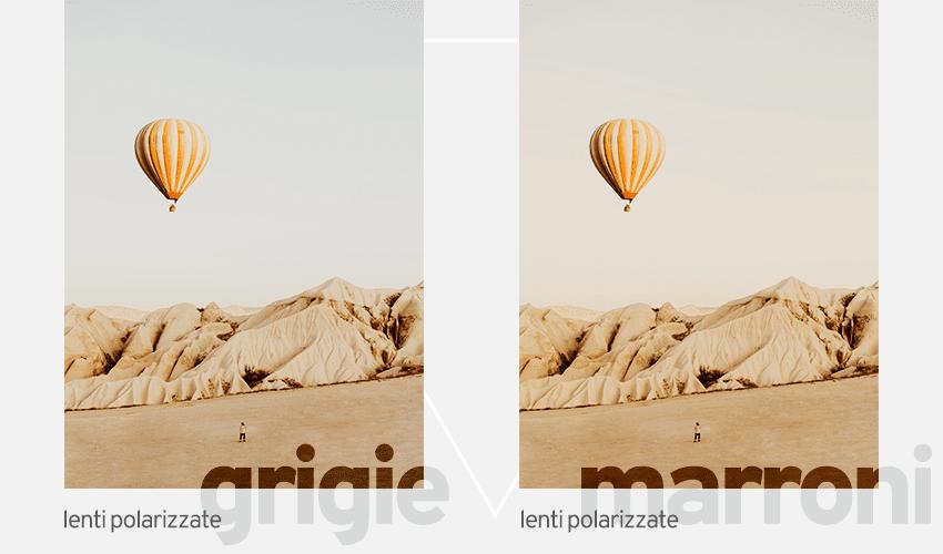 Lenti polarizzate grigie e lenti polarizzate marroni