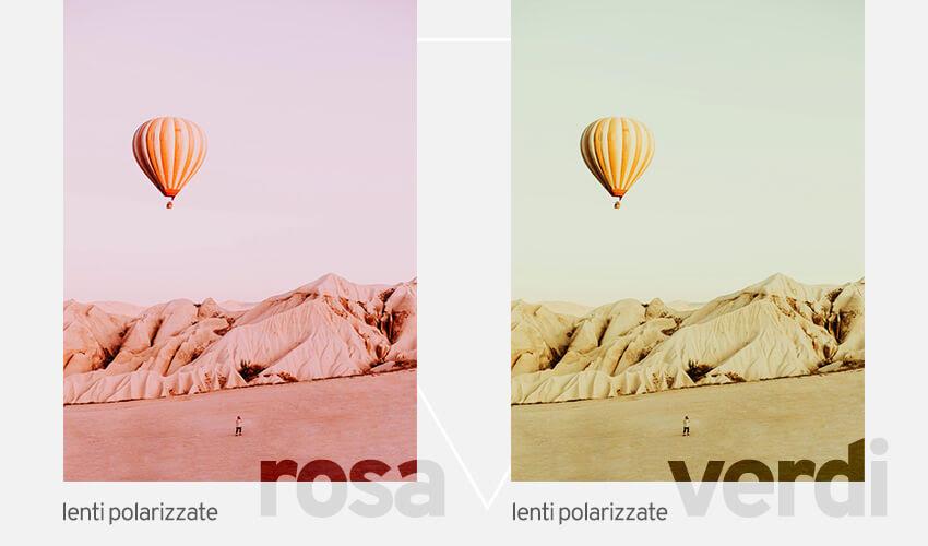 Lenti polarizzate rosa e lenti polarizzate verdi