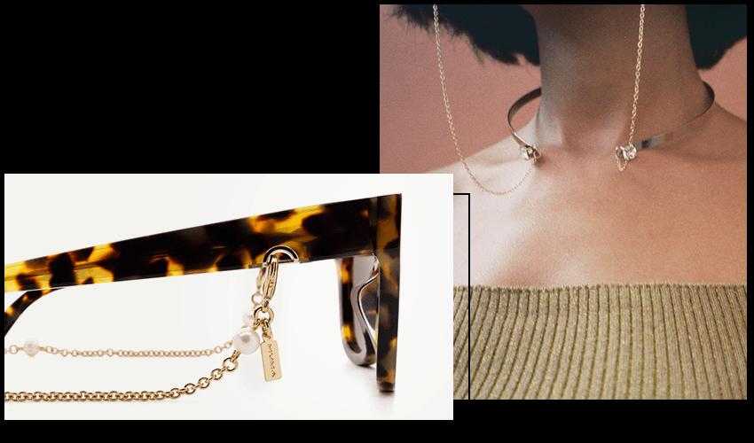 Occhiali Huma con accessorio pearl collar
