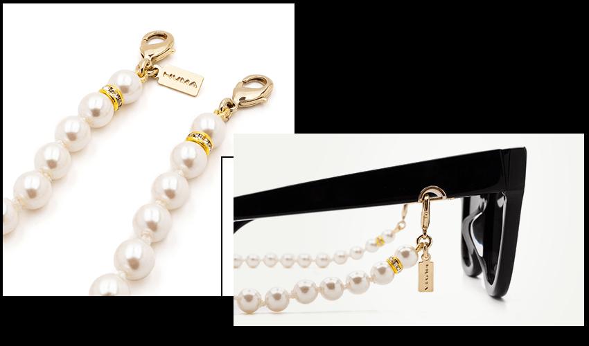 Occhiali Huma con accessorio collana di perle