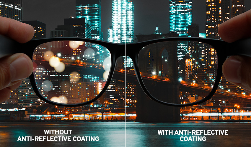 Glasses without anti-reflective coating and glasses with anti-reflective coating