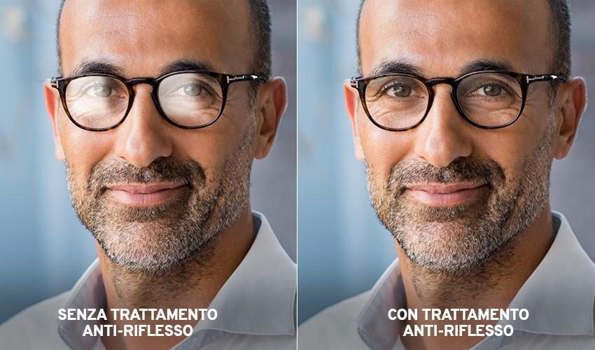 Differenza tra occhiali senza trattamento antiriflesso e occhiali con trattamento antiriflesso